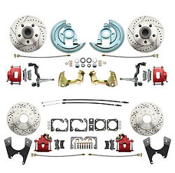 64-72 Gm A Body Stock Height Front Rear Disc Brake Drill Rotor Red Caliper