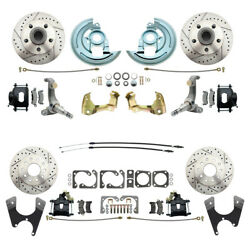 62-67 Chevrolet Nova Front And Rear Disc Brake Kitkit And Black Calipers