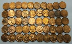 1939-d 1c Cent Lincoln Wheat Full Roll 50 Coins +tube Uncirculated Lg204