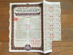 👍china Government 1925 Us50 Gold Bond Loan With Coupons Uncancelled - No Holes