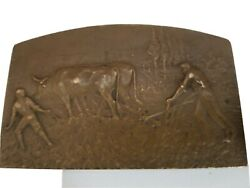 Unaltered/rare French Bronze Medallion The Farm Agriculture By Lucien Coudray.
