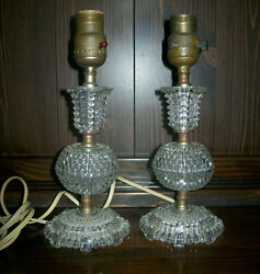 Vintage Pair Of Clear Glass Table, Bedsite, Vanity Lamps 10 1/2 Tall, No Shades