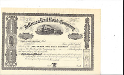 The Jefferson Rail Road Company.....1800and039s Unissued Common Stock Certificate