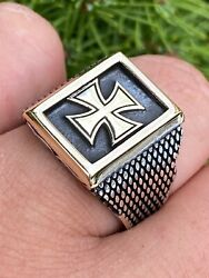 Mens 14k Gold And Real Solid 925 Sterling Silver German Maltese Iron Cross Ring