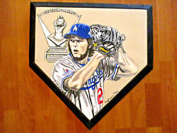 La Dogers Clayton Kershaw Hand Painted Home Plate By Doug Brewer 1 Of 1