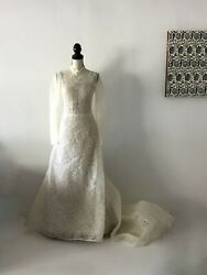 Vera Wang Luxe Ivory Lace High Neck Long Sleeve Strapless Bride Dress Size Us 8