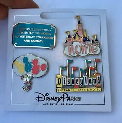 Disney Parks Disneyland 4 Pin Booster Set Home Balloons Castle Marquee Sign