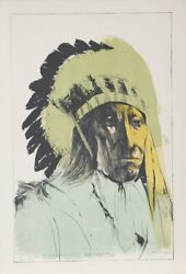 Leonard Baskin, Chief American Horse - Oglala Sioux, Lithograph, Signed And Numb