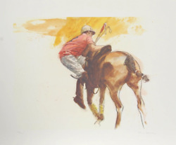 Henry Koehler Jockey Mounting Up Lithograph Signed And Numbered In Pencil