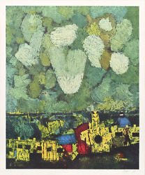 Mordecai Ardon, New Jerusalem, Lithograph, Signed And Numbered In Pencil, Mounte