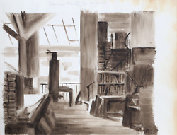 Laurent Marcel Salinas Library Study 398 Ink And Wash On Paper Signed L.l.