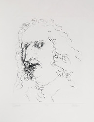 Leonard Baskin, Watteau, Drypoint Etching, Signed And Numbered In Pencil