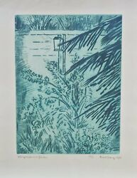 Karl Schrag Lamplight In The Garden Lithograph Signed And Numbered In Pencil