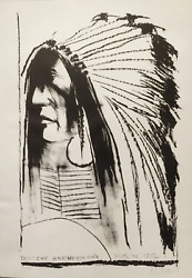 Leonard Baskin, Swift Dog - Standing Rock Sioux, Lithograph, Signed And Numbered