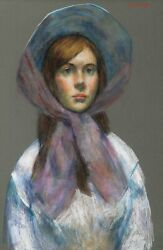 Thomas Strickland Girl With Bonnet Pastel On Paper
