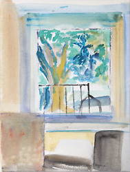 Harold Wallerstein Interior With Window Watercolor On Paper Signed Lower Righ
