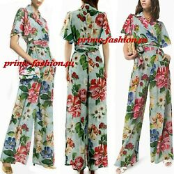 Dolce And Gabbana Tropical Rose Floral Print On Blue Silk Wide Leg Jumpsuit Sz 44