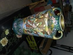 1880 Antique Japanese Earthenware Pottery Vase 18 Tall
