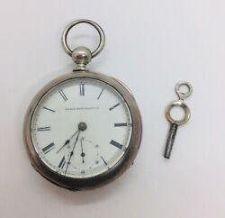 Antique Elgin National Coin Silver Key Wind Large Pocket Watch