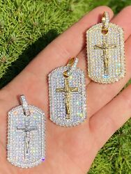 Solid 925 Sterling Silver Gold Dog Tag Iced Baguette Diamond Jesus Necklace $62.99