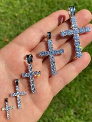 Solid 925 Sterling Silver Tennis Cross Pendant Diamond Mens Ladies Iced Necklace $18.89