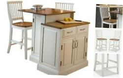 Woodbridge White Kitchen Island amp; 2 Stools by