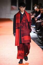 Yohji Yamamoto 2018aw Red Flannel Scarf Coat Size 2 From Japan Free Shipping