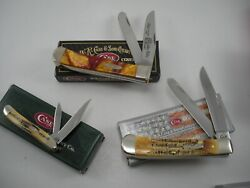 NOS LOT OF 3 CASE KNIVES NEVER USED IN BOX BS TRAPPER LE TRAPPER BS PEANUT
