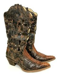 Corral Musgo Python Cross Women#x27;s 8.5 Snake Brown Studded Leather Cowboy Boots $79.99