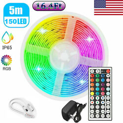 US 16.4ft Roll quot;5050quot; Waterproof RGB LED Strip Light Set With 12V Power amp; Remote