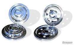19.5 Universal Front + Rear Stainless Steel Wheel Sleeves Trims Covers Truck