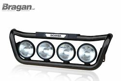 To Fit Scania P G R 6 Series 2009+ Grill Light Bar Black + Step Pad + Side Leds