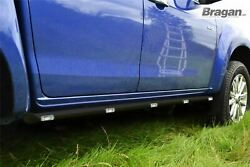 To Fit Isuzu D-max Rodeo 2007 - 2012 Black Side Bars + Leds Lights Stainless