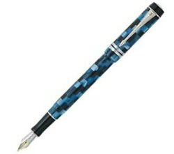 Parker Duofold Fountain Pen Blue Check 18kt Gold Fine Pt New In Box