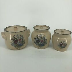 Set Of 3 Home And Garden Party Wildflowers Floral Stoneware Canisters Cookie Jar