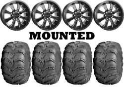 Kit 4 Itp Mud Lite At Tires 25x8-12/25x10-12 On Raceline A77 Mamba Black Can
