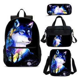 Fantasy Wolf Animal Student School Backpack Insualted Lunch Box Pencil Case Lot
