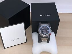 Authentic G Chrono Stainless Steel Mens Watch Black Dial Chrome Y101361.