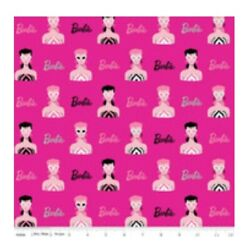 Barbie Fabric Bty Yard 1950s Head Main Hot Pink Cotton Fabric By Riley Blake