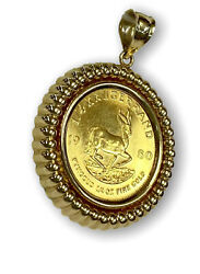 14k Yellow Gold Pendant W/ 1980 1/4 Oz Krugerrand Coin Made Into A Charm