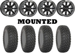 Kit 4 System 3 Rt320 Tires 35x9.5-15 On Raceline A71 Mamba Beadlock Machined Can