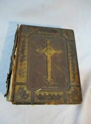 Antique Holy Bible Douay Rheimish Version Leather Book Brown Oversize
