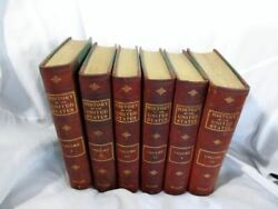 Set Antique 1906 History United States Wiley 6 Vol Leather Book Brown