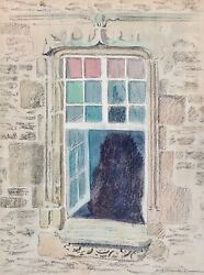 Auguste Roubille - Painting - Watercolour - The Window Of Castle