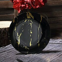 8-inch Black Gold Marble Round Salad Plates Wedding Party Disposable Supplies