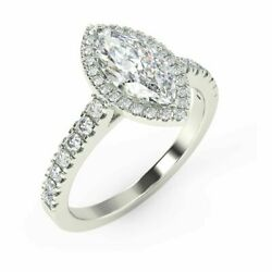 Special Offer. 1.50ct Marquise Diamond Halo Engagement Ringhallmark White Gold