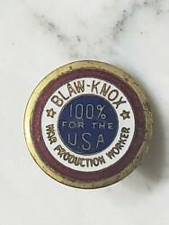 Wwii Blaw Knox Us Homefront War Production Worker Gold Screwback Pin