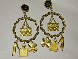 Clip On Earrings Leather Chain 8 Gold Charms Vintage Cc Logo Wow Rare
