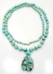 Rare Vintage Art Deco 10k Carved Asian Chinese Turquoise Ball Ladies Necklace