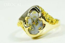 Gold Quartz Ring Orocal Rmeq109 Genuine Hand Crafted Jewelry - 14k Gold Castin